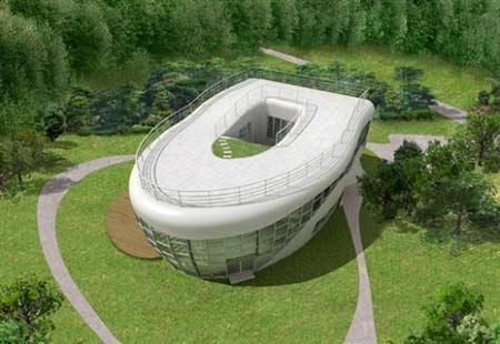 """韩国设计师最近在首都首尔郊外兴建""""厕所屋"""",展示全新的清洁理念。而且从高空鸟瞰,他正在兴建的房屋外观也是个巨大的马桶。"""