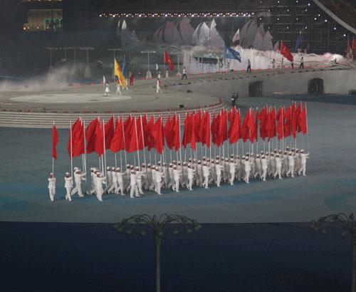 图文:六城会开幕式预演 红旗队整齐步入体育场