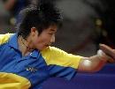 图文:六城会乒乓球比赛 丁宁在比赛之中