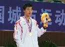 图文:乒乓球男单颁奖仪式 冠军马龙在领奖台上