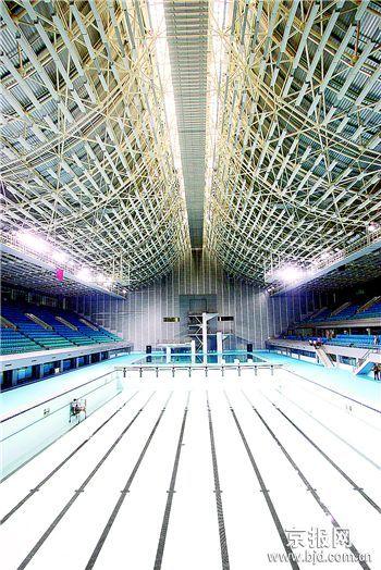 图为:改造后的英东游泳馆将承办2008年奥运会水球和现代五项的游泳比赛
