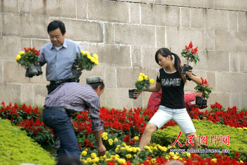 市民在挑选各自喜欢的鲜花