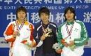 图文:女子50米自由泳决赛 领奖台三女将风采