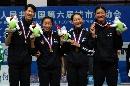 图文:六城会女子重剑团体决赛 冠军合影留念