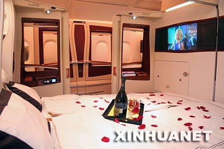 """这是10月17日在新加坡拍摄的空客A380客机的""""豪华套舱""""。新华社记者 郑晓奕 摄"""