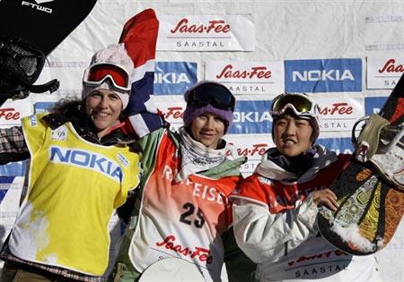 图文:滑雪世界杯瑞士站陈旭摘银 夺牌三人组