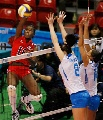 图文:意大利女排3-0多米尼加 意大利双人拦网