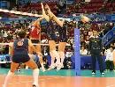 图文:女排世界杯美国3-1波兰 美国女排双人拦网
