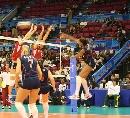 图文:女排世界杯美国3-1波兰 美国女排突破拦网