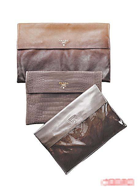 渐层手拿包相当适合时尚名媛。(上至下)3万6000元、鳄鱼皮42万2000元、3万4500元