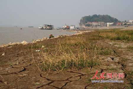 11月5日,裸露的湖岸开始干裂。