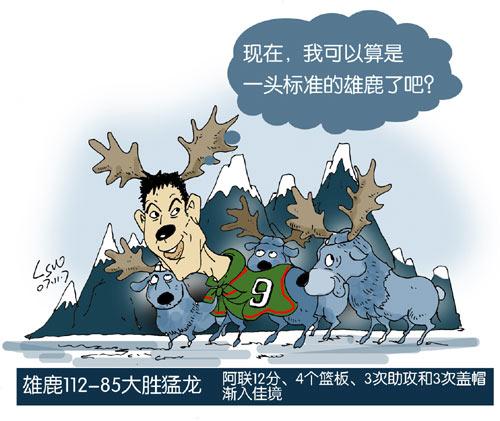 NBA漫画:狂胜猛龙 易建联成标准雄鹿