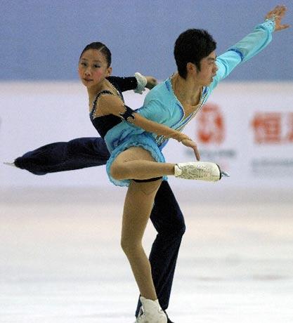 图文:中国花滑赛双人滑 中国张悦/王磊获第四