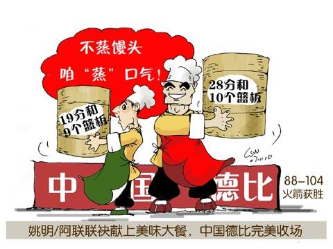 NBA漫画:姚易联袂献上美味大餐漫画里图库图片