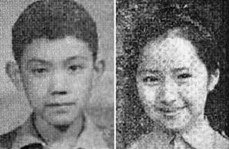 马英九小学照片,右为张琤,是当年女师附小的校花,很多男同学都很喜欢她。
