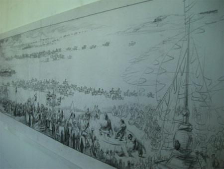 气势恢弘的《中华奥运梦》(国画)长卷素描稿局部。