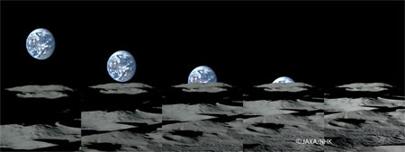 """图为在月球南极附近的""""月平线""""上拍摄到的高清晰""""地落""""连续照片。"""