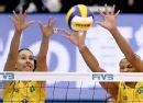 图文:[女排世界杯]巴西获亚军 美丽定格在网前