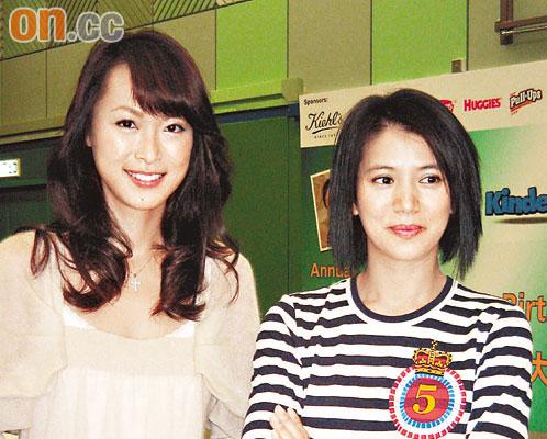袁咏仪(右)与童爱玲均已为人母,话题特别多