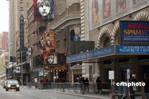 纽约百老汇街在罢工中荣景不再、一片萧条