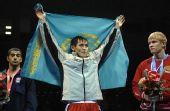 图文:北京国际拳击邀请赛 哈萨克斯坦选手摘金