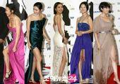 图:今年风行高开叉长裙 青龙美女们的长腿秀