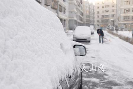 新疆西北部普降大雪