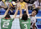 图文:男排世界杯保加利亚3-0韩国 没能挡住球