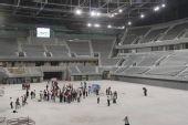 图文:国家体育馆竣工交付使用 灰色体育馆内部