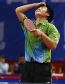 图文:[乒乓球]郝帅刘诗雯夺金 郝帅仰天长叹