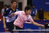 图文:[乒乓球]郝帅刘诗雯夺金 郭跃正手抽击