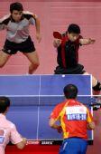 图文:[乒乓球]马琳/王励勤男双夺金 比赛一景