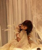 图文:曝田亮新娘叶一茜婚纱照 绢纱帐与白羽毛