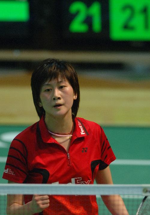 羽球香港公开赛女单 朱琳握拳为自己加油