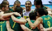图文:男排世界杯巴西3-1日本 巴西队欢庆胜利