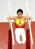 图文:[体操]男子双杠决赛 梁明声技惊四座