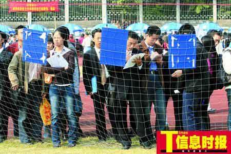 昨天的英东体育场挤满了求职的研究生。萧嘉宁 摄