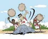 NBA漫画:姚麦轮铁锤刺头搬石头 火箭屠杀灰熊