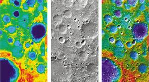 国家航天局公布的第一幅月面图像局部区域形貌图。左:三个视角影像处理形成的数字高程模型图;中:正视影像与数字高程模型处理形成的正射影像图;右:正射影像与数字高程模型处理形成的高程色彩编码地形图。新华社发