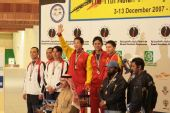 图文:男子双多向飞碟颁奖仪式 中国捧团体金牌