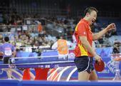 图文:马琳4-1马龙晋级男单决赛 马琳庆祝胜利