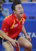 图文:马琳4-1马龙晋级男单决赛 马琳大声欢呼