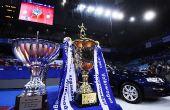 图文:乒联总决赛女单颁奖 冠军奖杯及奖品