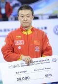 图文:乒联总决赛男单颁奖 马琳在颁奖仪式上