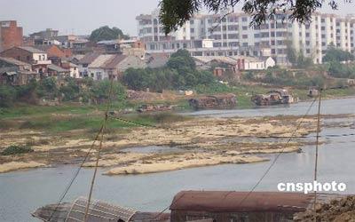 入秋以来,华南地区降水持续偏少,广东、广西和海南三省先后发生大面积干旱,其中两广地区尤为显著。图为漠阳江水位严重偏低,部分地区出现断流的情景。 中新社发 唐贵江 摄