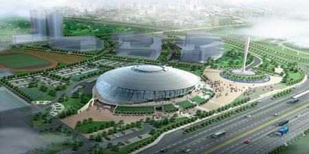北京工业大学体育馆鸟瞰图(效果图)