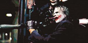 希斯-莱杰饰演的小丑在预告片中占戏最多,且霸气十足。