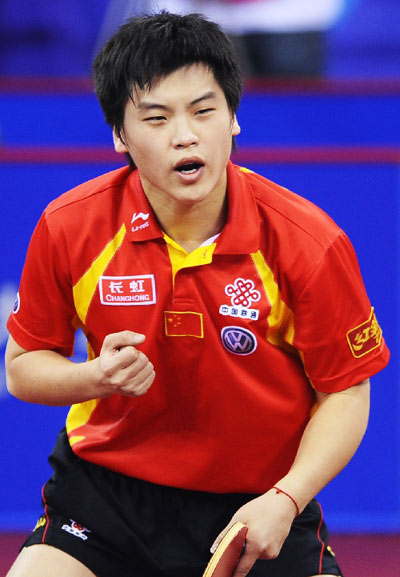 图文:[乒乓球]男团3-0韩国夺冠 郝帅握拳呐喊