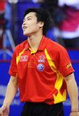 图文:[乒乓球]男团3-0韩国夺冠 郝帅稍显无奈