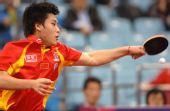 图文:[乒乓球]男团3-0韩国夺冠 郝帅正手强拉